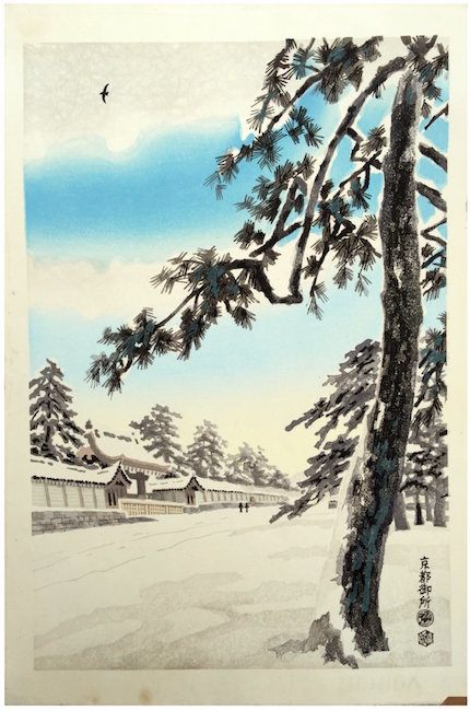 Imperial Palace in Snow by artist Eiichi Kotozuka, 1950. Sold for $85