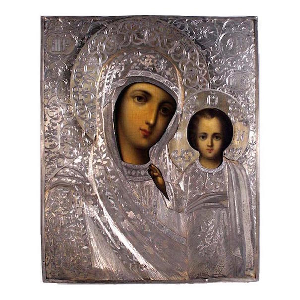 Russian icon, Our Lady of Kazan, 1859, egg tempera on wood with gold leaf, silver riza with hallmarks 84. Estimate: $15,000-$20,000. Jasper52 image