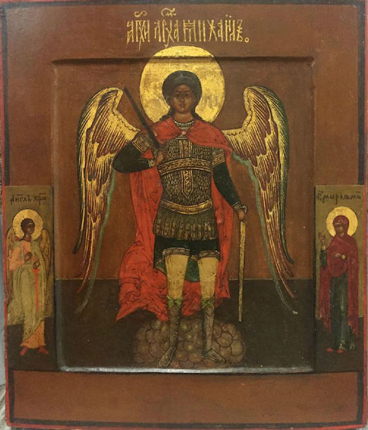 Archangel Michael gilt gold Russian icon, 19th century, 10 x 12 x 1.25 inches, paint on wood with gilt. Estimate: $7,500-$10,000. Jasper52 image