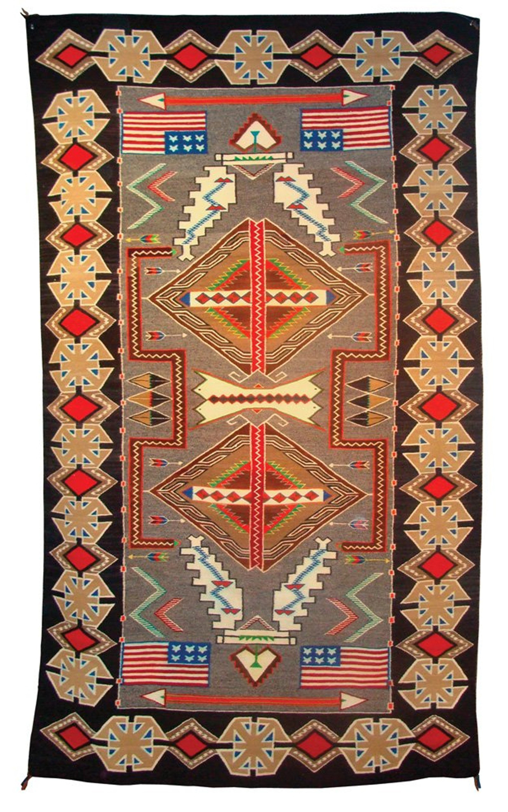 Circa-1950 Navajo pictorial Teec Nos Pos rug
